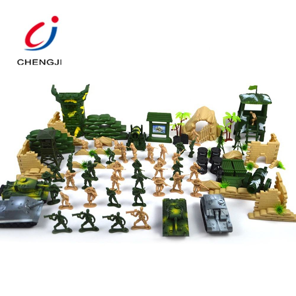Kids indoor play mini vehicles plastic soldiers military toy set 100pcs
