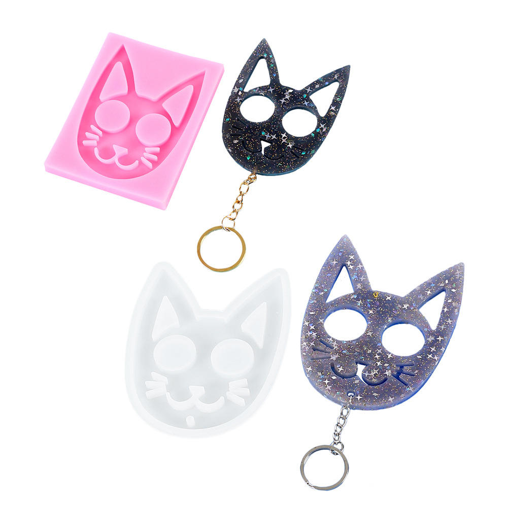 2021 OEM DIY Crystal Epoxy Cute Cat Ornaments Silicone Molds Animal Key Chain Manufacturing Mould Injection Mold Resin Casting