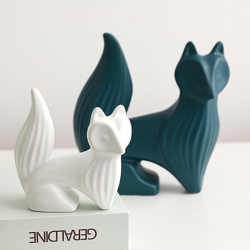 Sala de estar moderna Porcelana Raposa Bonito Decora Escultura