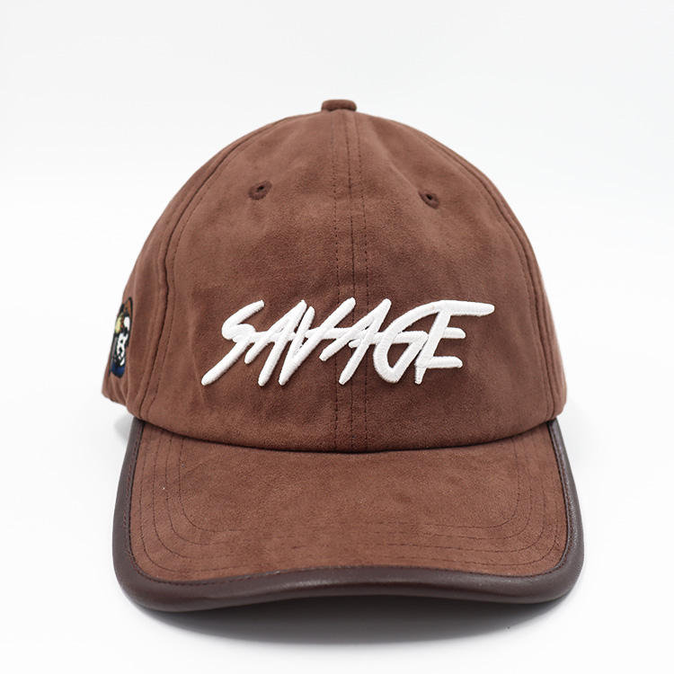Suede leather trimming strap with antique brass matel clip 3D embroidery logo 6 panel baseball cap Hip hop cap
