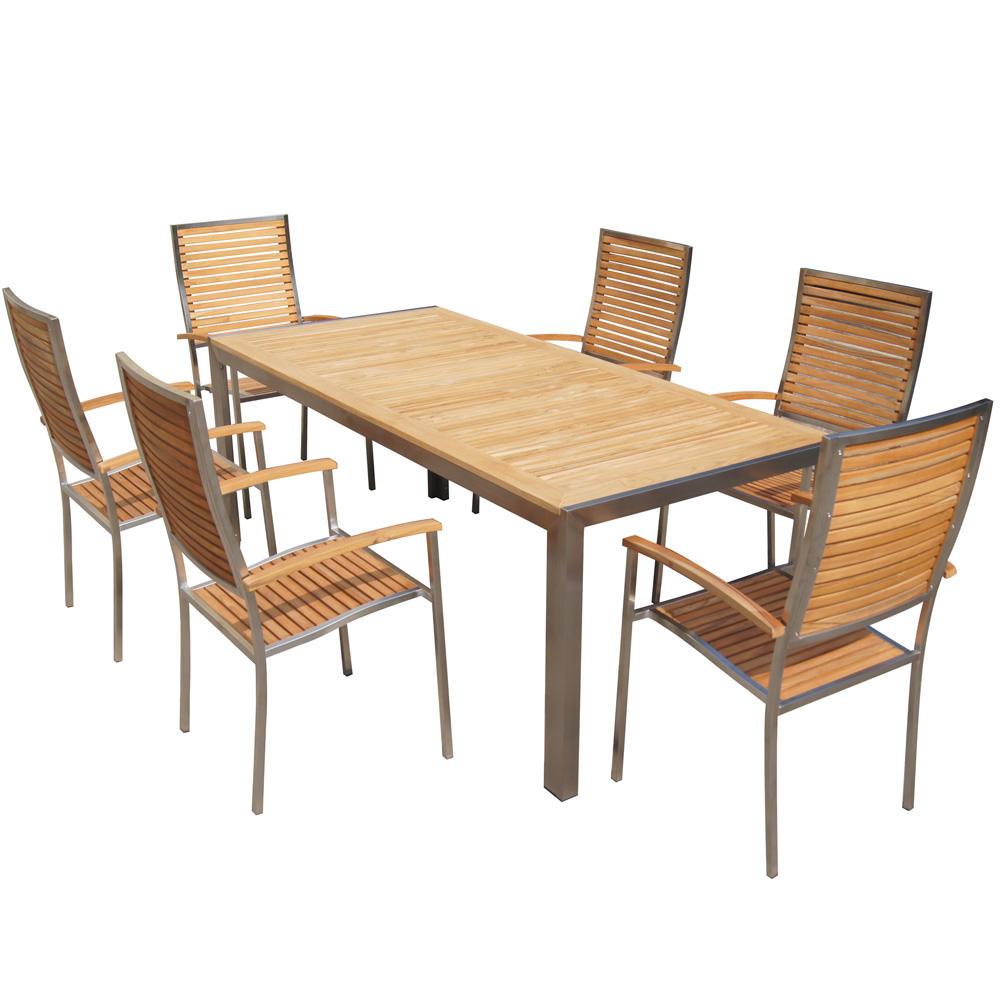 Conjunto de mesa de comedor de acero inoxidable y madera de teca, muebles de jardín para exteriores, gran oferta