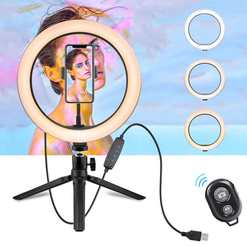 "10 Inch Dimmable Desk Beauty Selfie Ring Light Amazon Desktop 10"" LED Ring Light With Tripod Stand Cell Phone Holder"