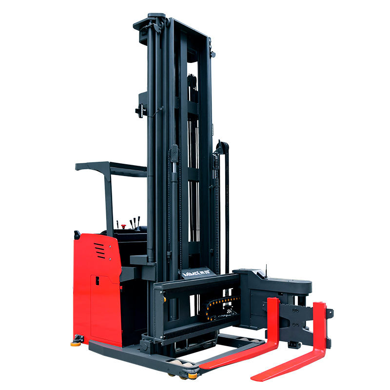 China factory price 1.0tons 1.5tons full electric very narrow aisle man down 3 way pallet stacker