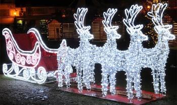 Festival di natale della decorazione del giardino della luce di illuminazione renna con slitta led luci di natale