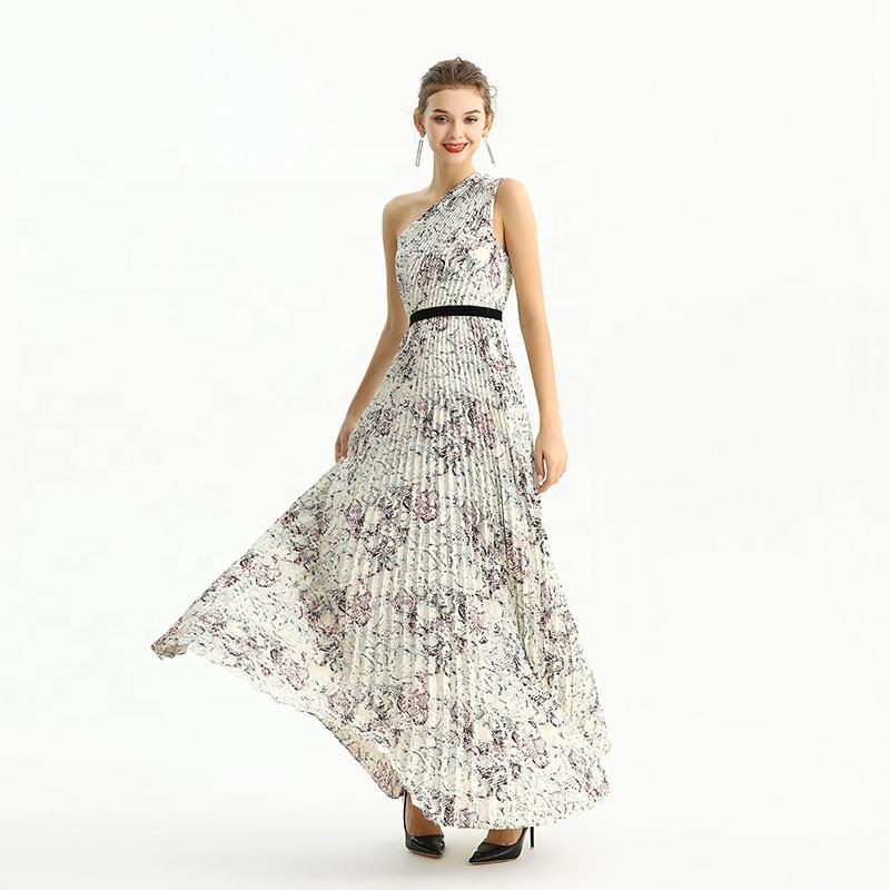 ND202 alta calidad moda elegante un hombro impresi&amp;oacute;n plisado Maxi largo mujeres Casual <span class=keywords><strong>fiesta</strong></span> Formal vestidos <span class=keywords><strong>de</strong></span> noche