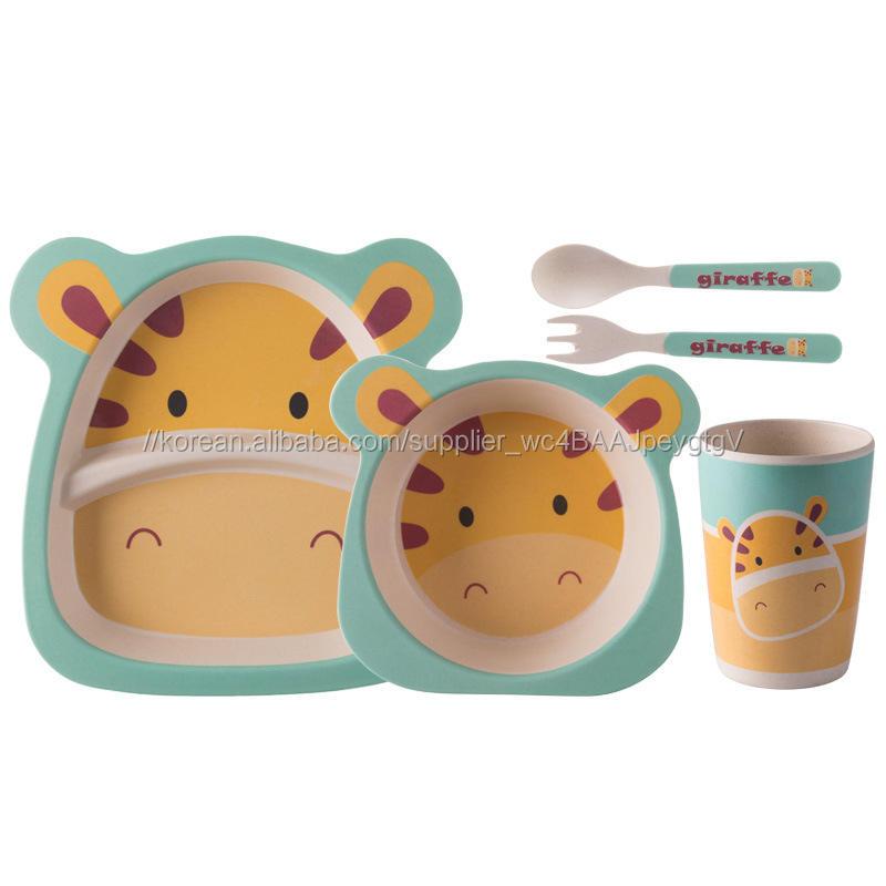 사용자 정의 인쇄 로고 5pcs 대나무 어린이 플레이트, 대나무 섬유 어린이 식기 아기 대나무 접시