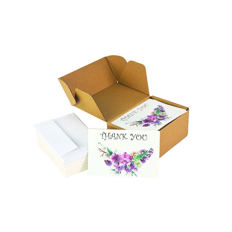 Fleur pourpre Merci Carte Personnalisé Imprimé En Gros 4x6 Pouces Mariage Cartes de Correspondance Avec Des Enveloppes