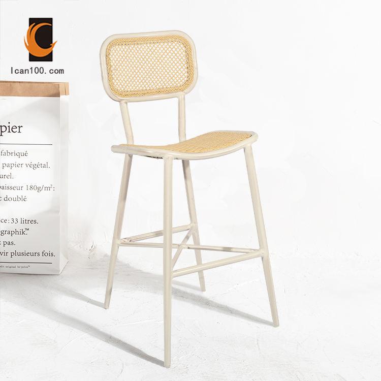 De moda de lujo nuevo producto francés <span class=keywords><strong>Ratan</strong></span> de mimbre Bar taburete alto