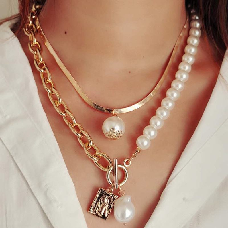 Pearl Gold Toggle choker Baroque Pearl Gold Heart necklace Minimalist Boho Chic Layering Small Oval Link Necklace