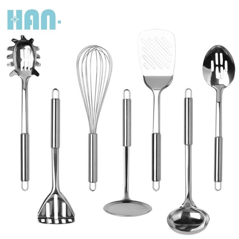 Venta caliente accesorios de cocina 7 piezas de acero inoxidable utensilios de cocina juego de herramientas de cocina