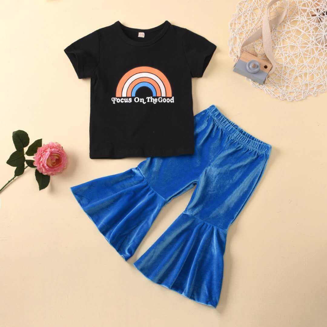 2020 طفل الفتيات مجموعة ملابس الصيف للأطفال <span class=keywords><strong>بوتيك</strong></span> ملابس الفتيات تي شيرت مضيئة فستان أطفال مع سروال داخلي