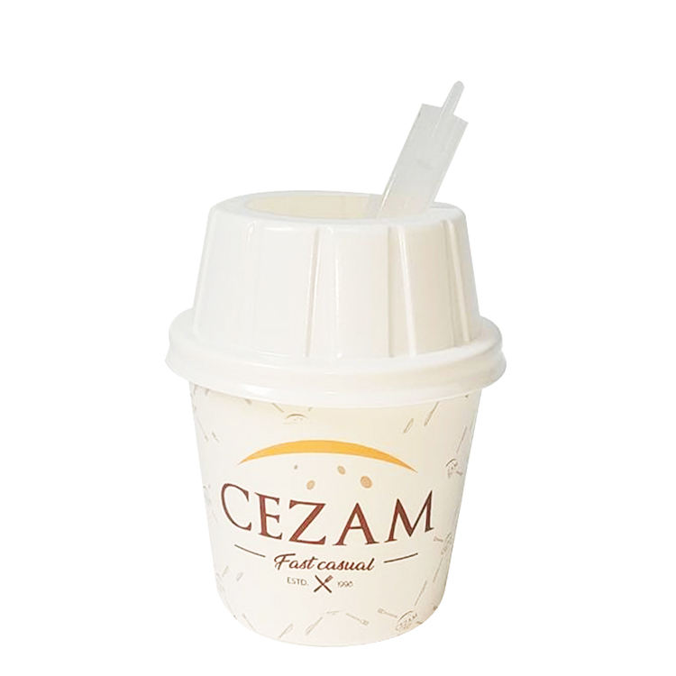 Wholesale Wheat Whirlwind Style Ice Cream Paper Cup with Spoon Bowl Disposable Custom Single Wall KWJ016 PYC