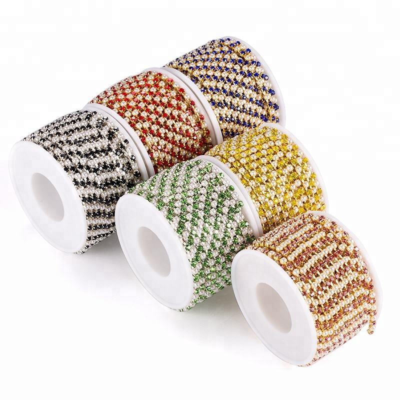 2mm 3mm Rodada Rhinestone Mista <span class=keywords><strong>P</strong></span>érolas Decoração Cadeia Cup com Garment Accessories Cup Cadeia