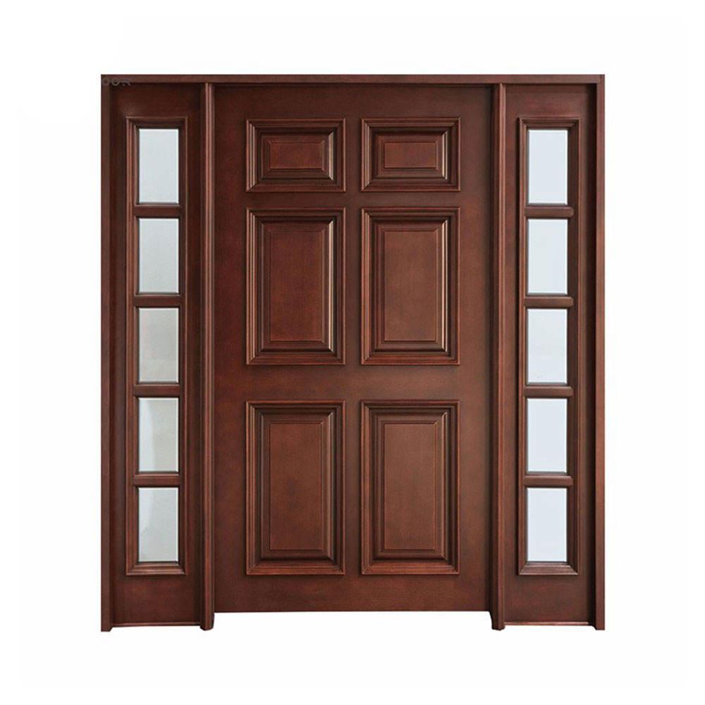 Classe di stile Europeo impiallacciatura in legno massello di mogano pannello porte con luce vista laterale di vetro appartamento principale anteriore doppie porte