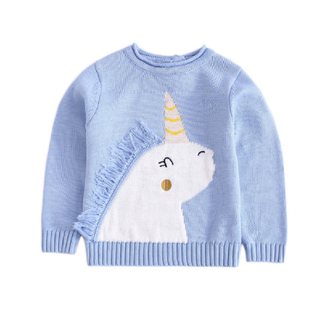 Дизайн обувь для девочек Осень Вязание пуловер с длинным рукавом единорог мультфильм свитер