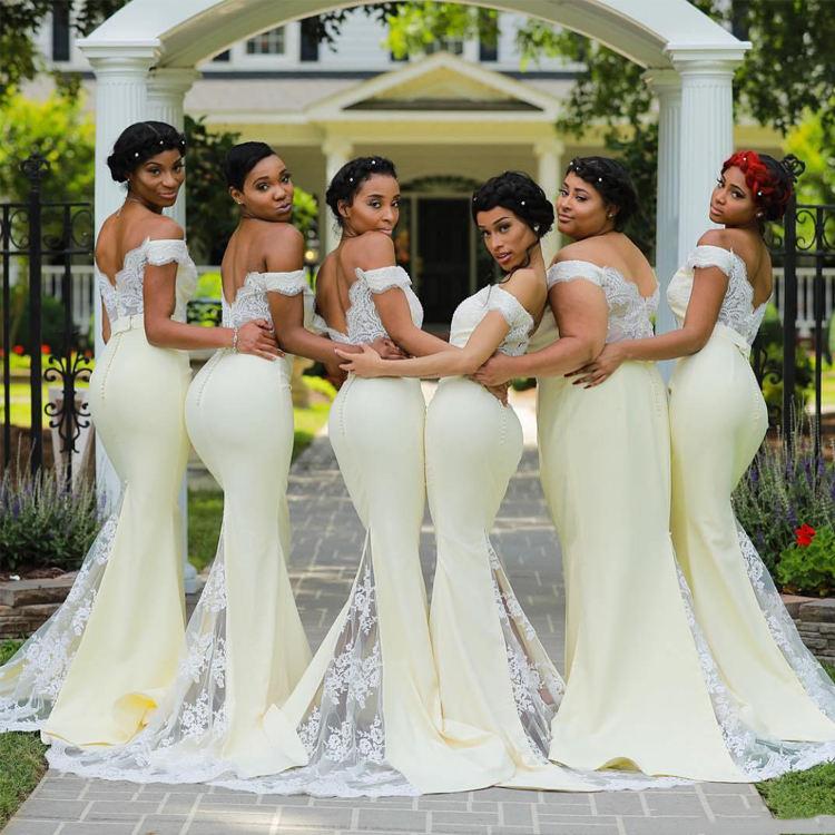 Nuevo y elegante diseño hermoso piso longitud chicas una línea de dama de honor vestido patrones para fiesta de boda