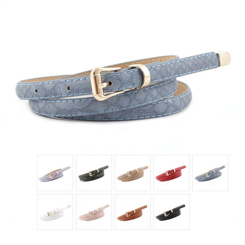 Women Cute Candy Colors PU Leather Thin Belt Slender Waistband Leather Belt