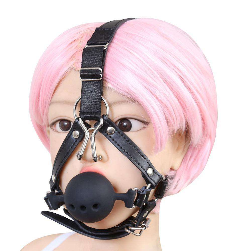 Leather Bondage Toys Open Mouth Gag with Silicone Ball Bondage Restraints Bite Gag Adult Sex Toys