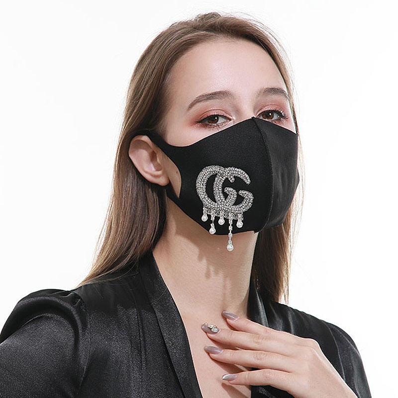 Luxus bling kristall gesicht-maske anti staub strass diamant facemaskes sexy mysterious glas grafik anpassung pri für party
