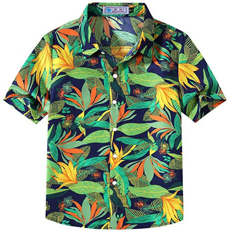 Одежда высшего качества Фирменная Новинка дышащая детская рубашка с короткими рукавами Гавайская Повседневная