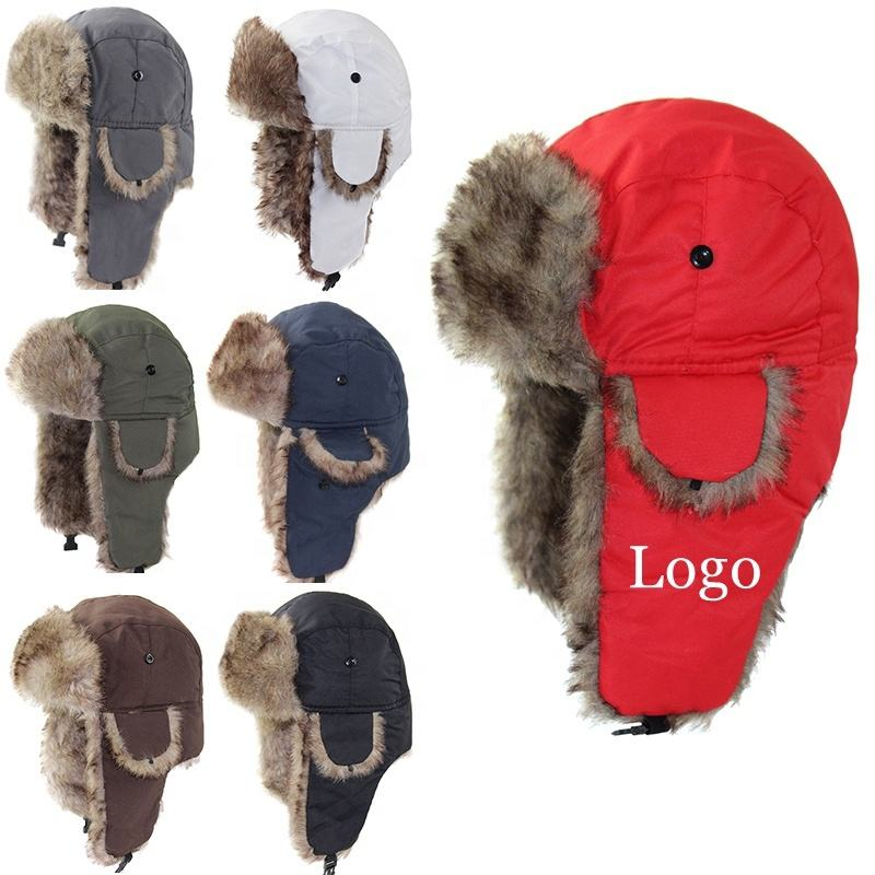 Fashion Waterproof Hunting Ushanka Russian Unisex Men Plain fur Warm Black Lei Feng Nylon Ear Flap Chin Strap Trapper Winter Hat