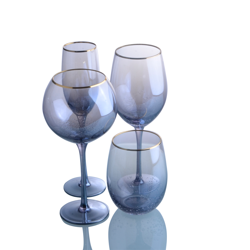 Set 4 Pcs Drinking Glassware with Golden Rim and Bubble Handmade Blue Color