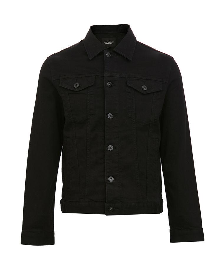 Coton noir bouton fermer hommes veste en jean, jean veste en jean