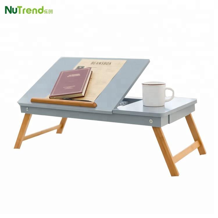 木製折りたたみ小さなベッドサービングトレイラップトップテーブル上のベッド