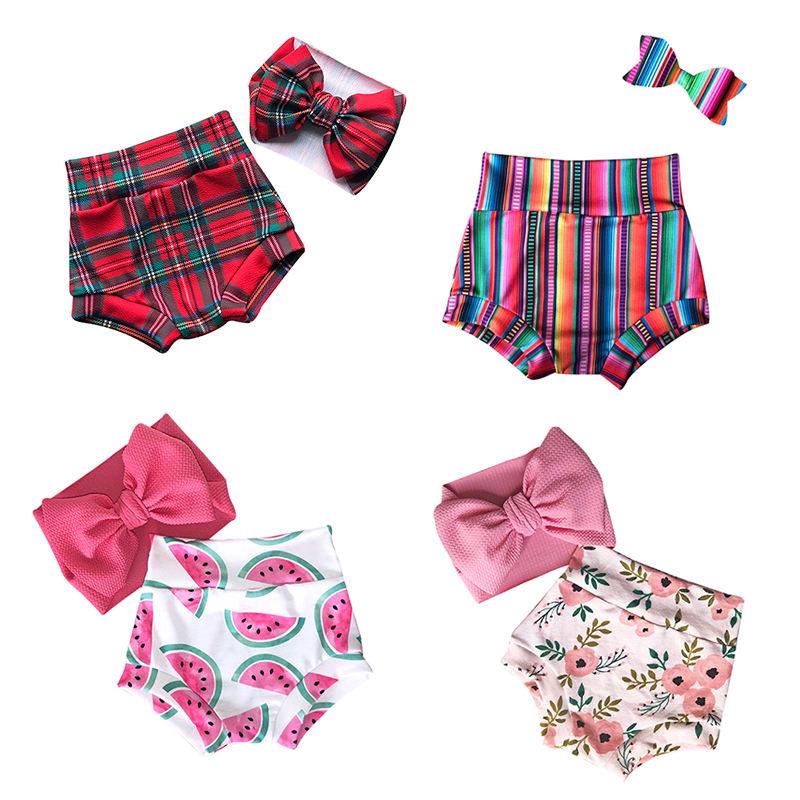 с принтом, для девочки шорты с лентой для волос; Летние для девочек с оборками и блестками, с рисунком в виде клевера-шорты