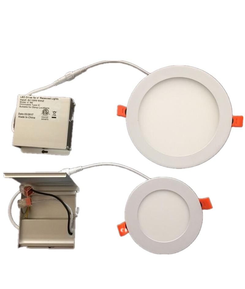 ETL 4inch 9w 6inch 12w 8inch 18w 3cct OEM ODM Round Recessed Dimmable Slim LED Panel Pot Light with Junction Box