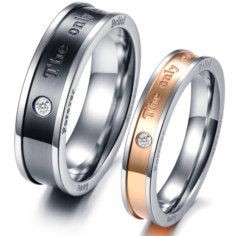 Anillo de diamante CNC de pareja de acero inoxidable, anillo de circón con grabado de regalo de San Valentín /