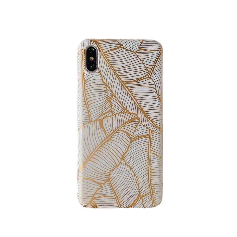 IMD simple frosted palm leaf pattern phone case for iPhone 7/7p/x/xs/xs max/xr/11/11 pro/11 promax
