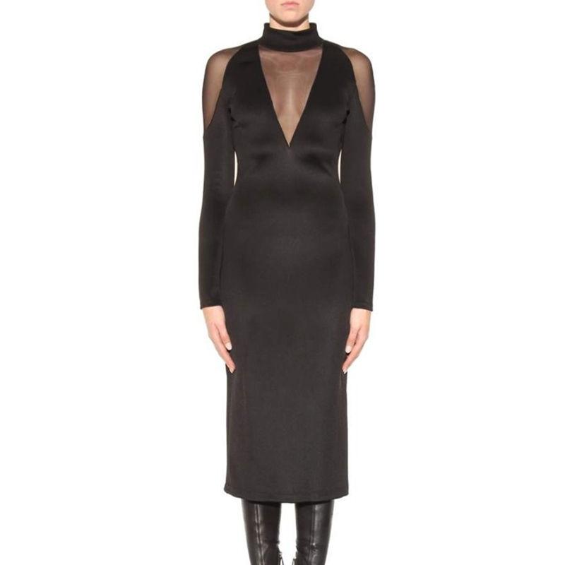 Herbst Kleidung für Frauen Neue Kommen sexy Missguided Kurve v-ausschnitt backless Bodycon schwarz Kleid