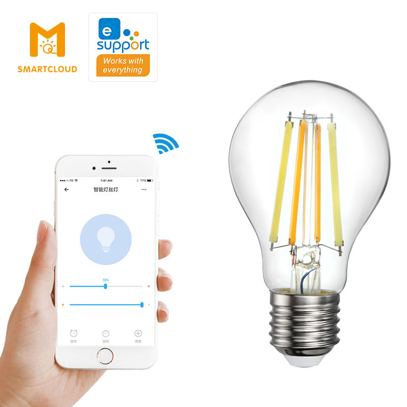 new popular smart led filament bulb wifi a60 9w vintige with clear /amber colour glass retro Electric Edison bulb ewelink