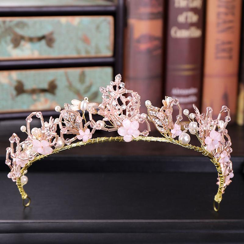 Venta al por mayor Corea Rosa perlas de cristal DE CORONA DE NOVIA accesorios para el cabello diadema