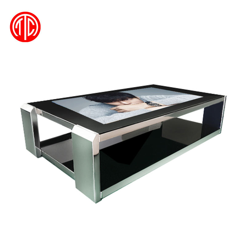 Inteligente café pantalla táctil capacitiva multi mesa con windows 10 giratorio de la publicidad digital