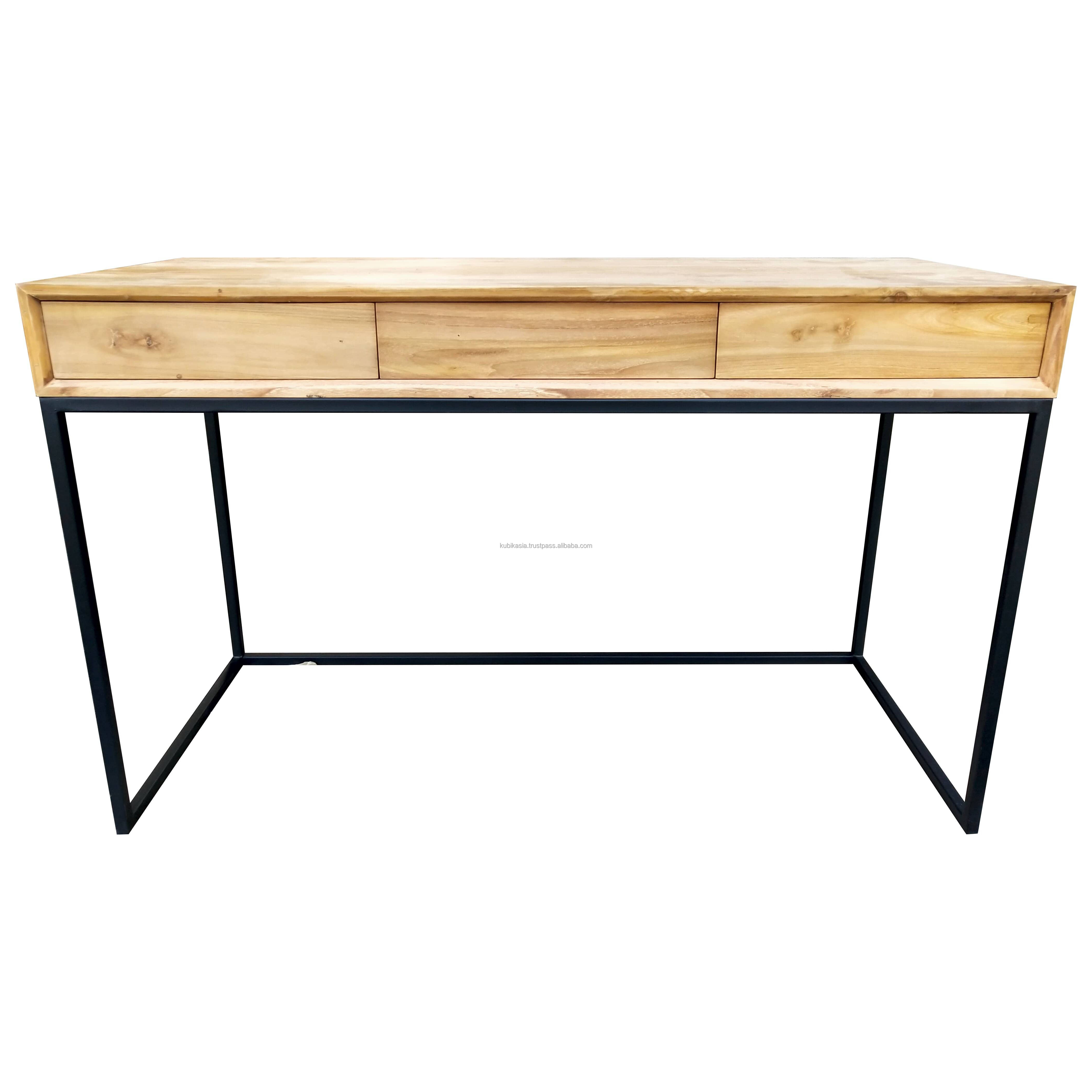 Premium OEM Wooden Office Desk OEM (2) Eco Friendly Made From Best Solid Teak Wood And Iron For Office Indoor Furniture