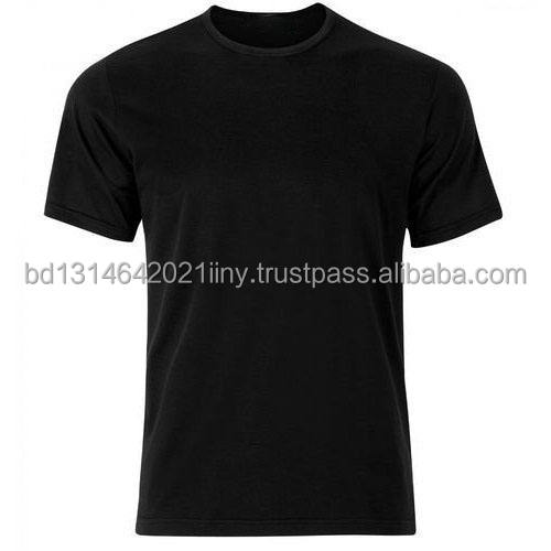 Solid Black Color O-Neck 100% Cotton Export Oriented Short Sleeve T-shirt / T Shirt For Men From Bangladesh