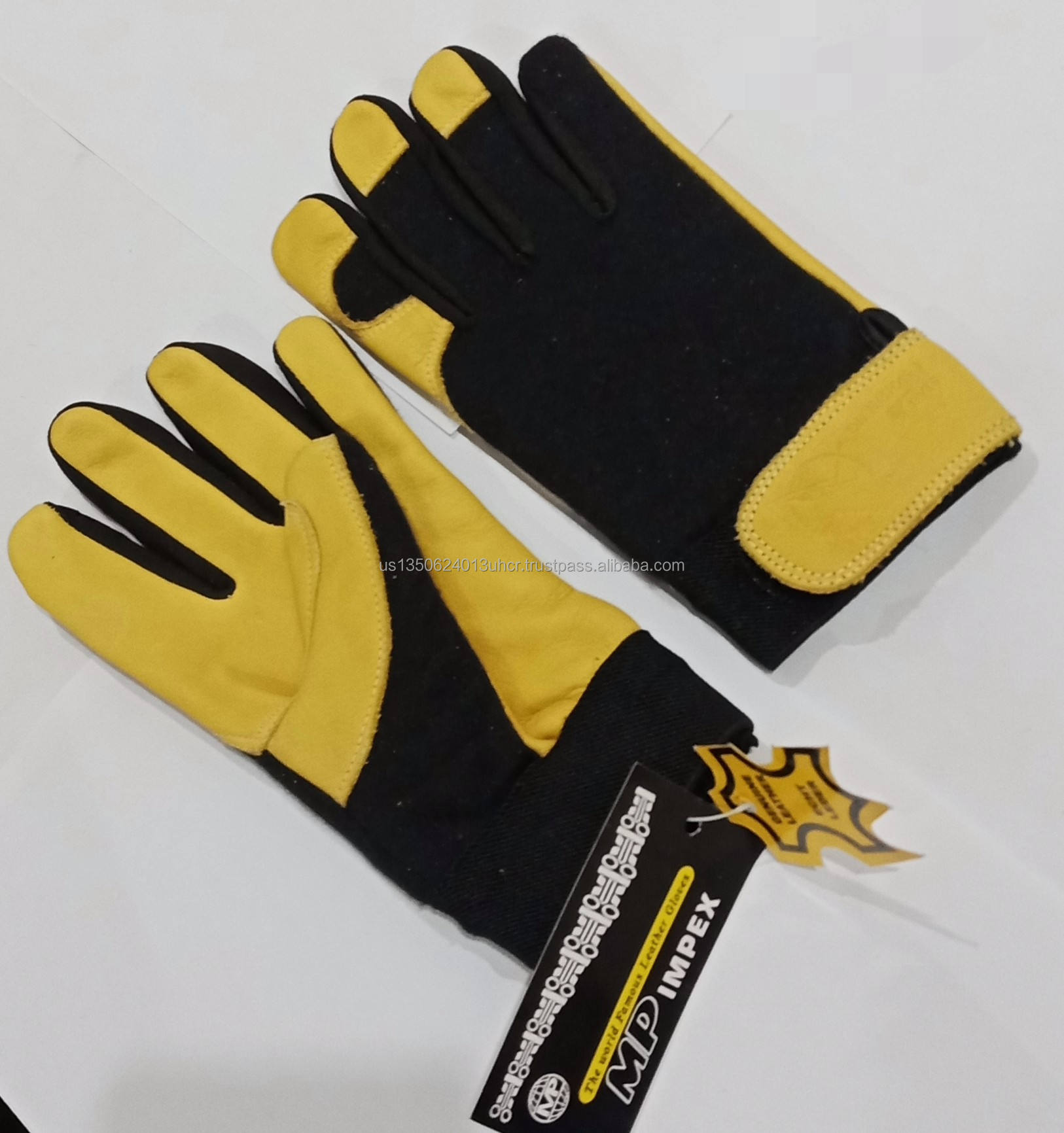 FIRE PROOF Mechanic Gloves SAFETY GLOVES Genuine Leather Palm And Fingertips