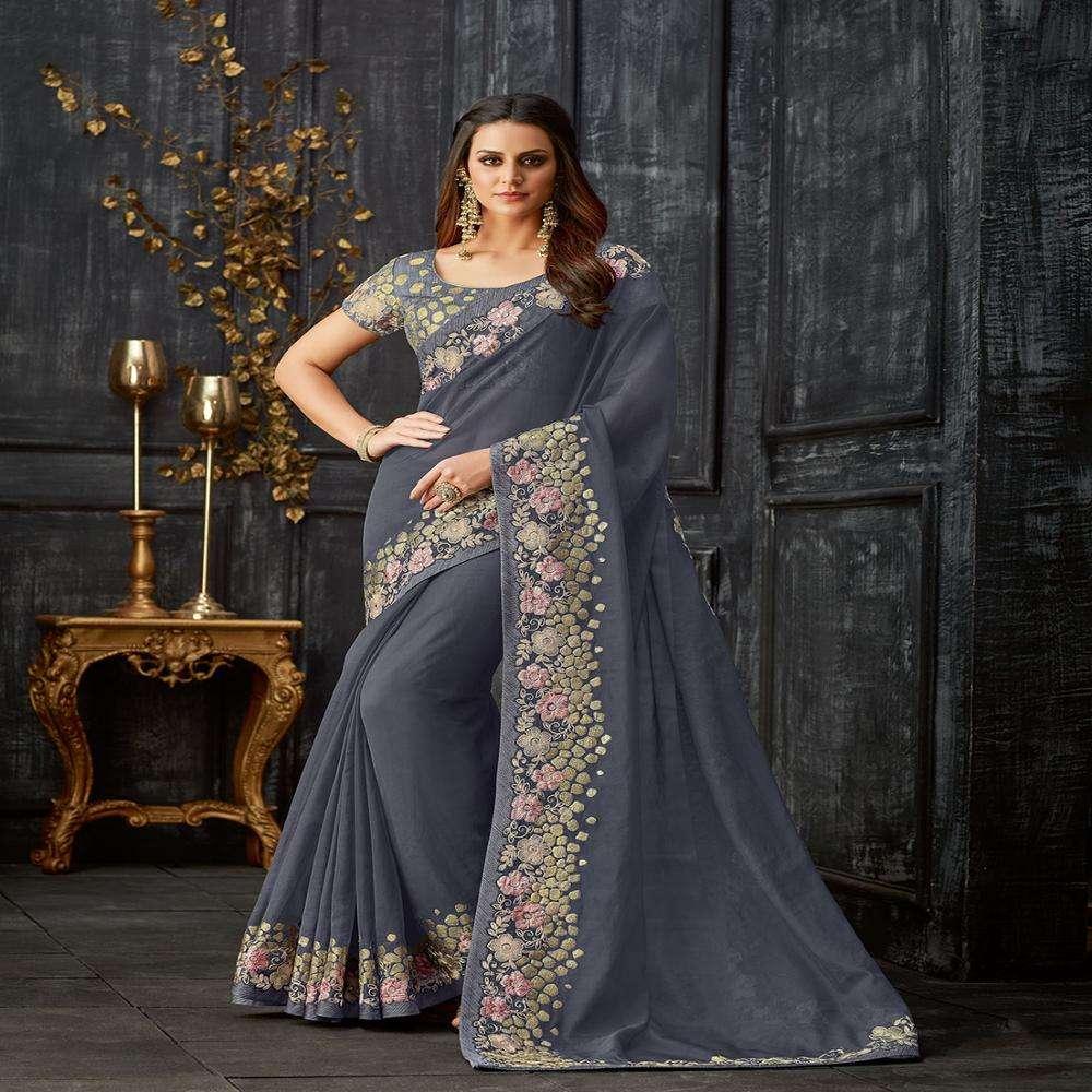 Pesado nupcial bordado Sari