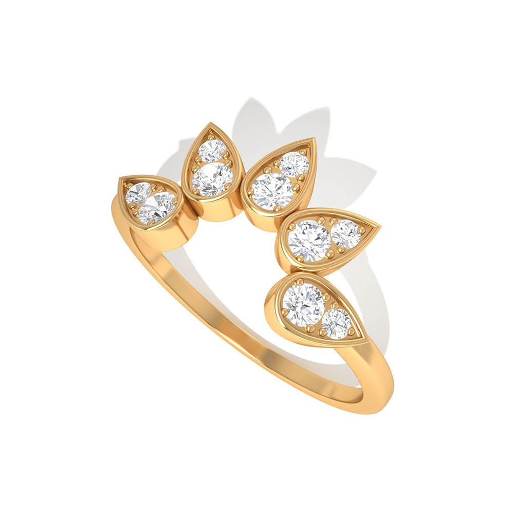 Incurvé Lotus Diamant Bague Minimaliste Sunburst Alliance, Couleur Clarté Diamant Anneau De Feuille