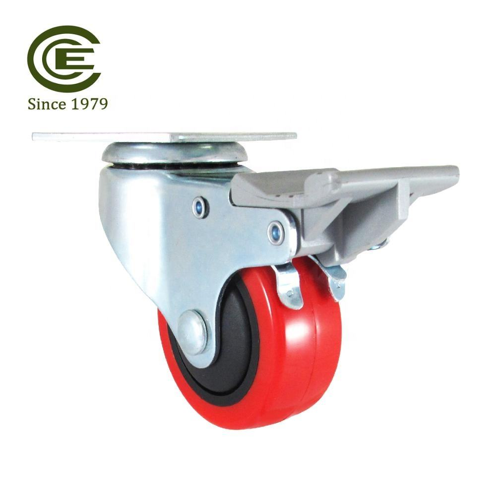 CCE Caster 3 Inch PU Locking Castor Trolley Wheels For Furniture