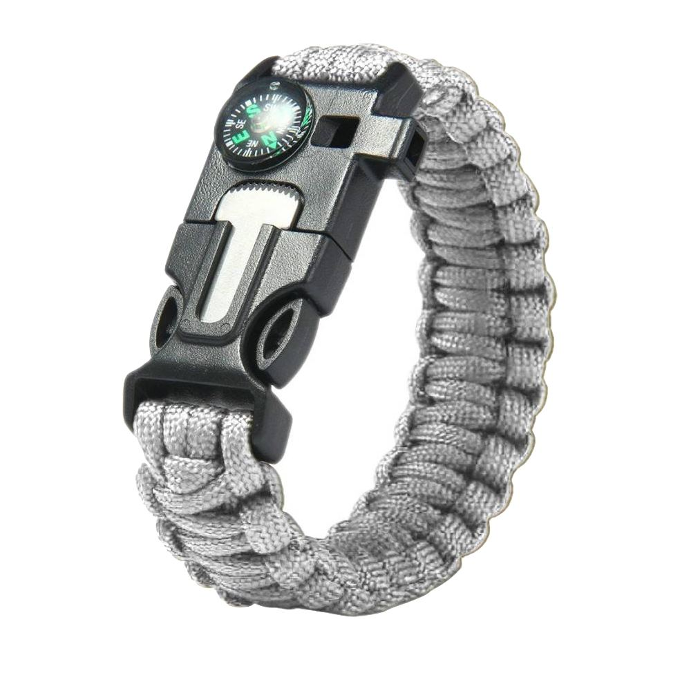 550 Made-in-India Survival Grey Paracord Bracelet with Flint Starter, Compass and Whistle