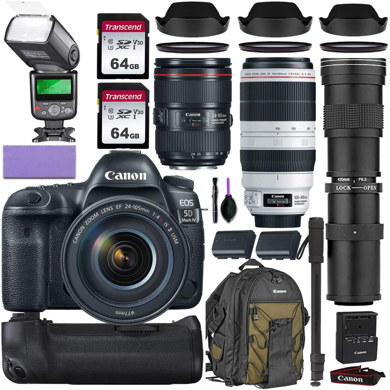 Canon EOS 5D Mark IV DSLR Macchina Fotografica Digitale e 24-105mm f 4L II USM Lens + 64GB Pro Video Kit Fotocamera Digitale
