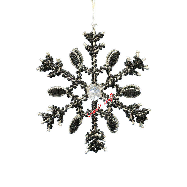 Beaded wholesale metal Christmas glass crystal snowflake ornament