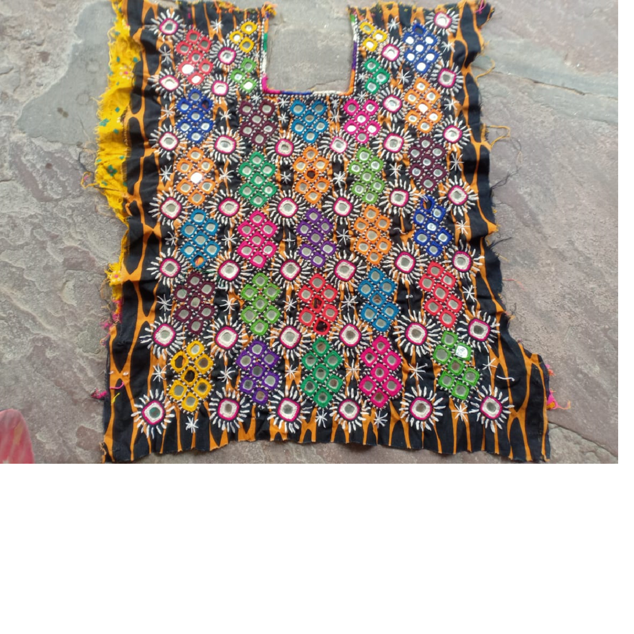 custom made hand embroidered mirror work tribal textiles available in a huge assortment of colors