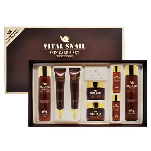 Korean Cosmetic Vital Snail Skin Care 6 set for Women Anti wrinkle Whitening Nourishing Moisturizing