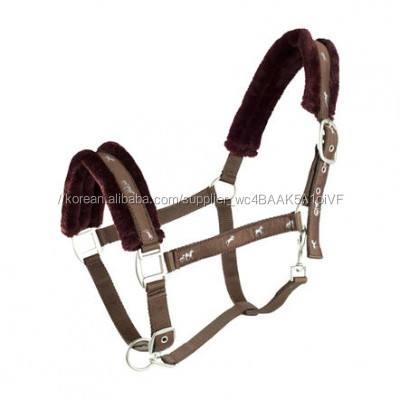Brown Fleece Padded Adjustable Nose Horse Halter Equine Manufacturer
