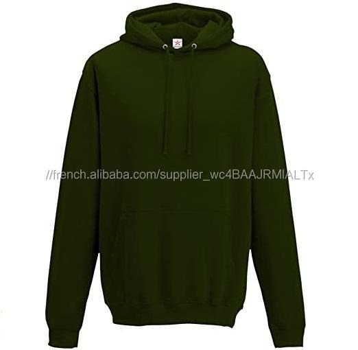 Vert forêt Pull Hoodies 100% Coton Molleton sweat à Capuche Blanc Pour Hommes