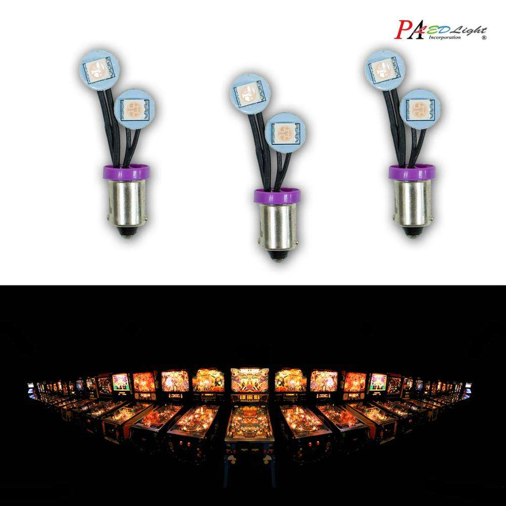 PA Non Ghosting LED Arcade Pinball Machine Light Bulb #44 #47 Ba9s T10 #555 6.3V 2SMD Fold Side View Lamp Flexible Wire